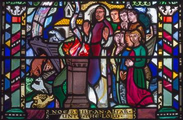 LONDON, GREAT BRITAIN - SEPTEMBER 16, 2017: The Jesus prayer in Gethsemane gareden on the stained glass in church St Etheldreda by Charles Blakeman (1953 - 1953).