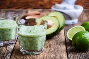 Guacamole dip style green vegetables smoothie