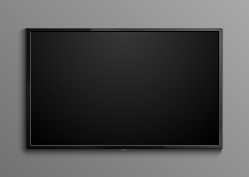 Realistic black television screen isolated. 3d blank led monitor display vector mockup