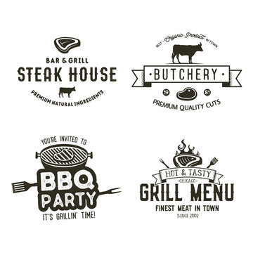 Vintage hand drawn steak house logo set, bbq party, barbecue grill badges, labels. Retro typography style. Butcher logo design with letterpress effect.Vector illustration isolated on white background.