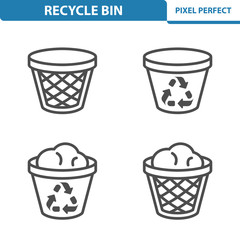 Recycle Bin Icons. Professional, pixel perfect icons depicting various recycle bin concepts. EPS 8 format