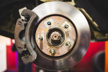Car disk brakes repair service performed