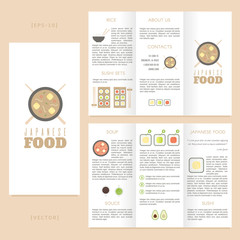 Tri-fold japanese food brochure template. Good for advertising and information printed products.