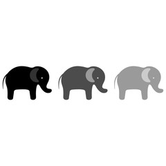 elephants silhouette on a white background