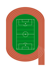 Top view of running track and soccer field - Vector illustration isolated on white background