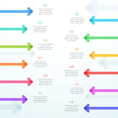 Abstract Vector Arrow 12 Step Vertical Infographic