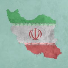 Carte et drapeau texturés de l'Iran