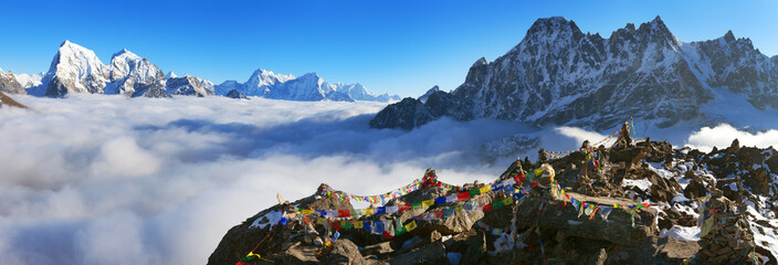 view from Gokyo Ri with prayer flags..
