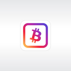 Mobile application or button with crypto currency bitcoin icon in popular colorful design and minimal white background. Bitcoin symbol.
