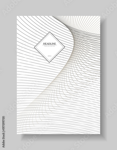 cover template of line art design abstract wavy background of gray