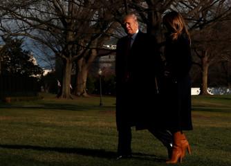 U.S. President Trump and first lady Melania Trump return via Marine One to the White House