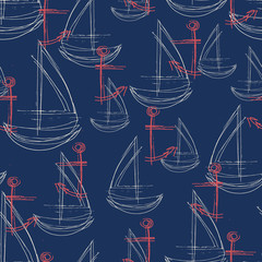 Seamless vector abstract pattern with sketched red anchor and white sailboat with a navy background.