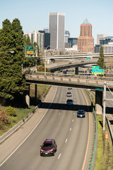 Interstate 5 Portland Oregon Highway Carries Cars South From Downtown