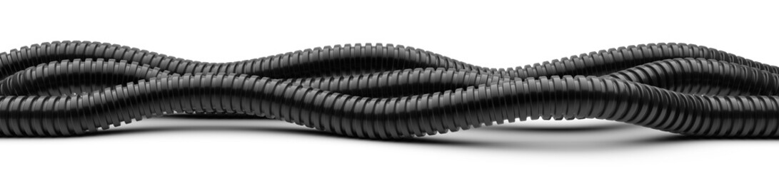 Black corrugated pipe for installation of electrical cable. Plastic curvilinear hoses set.