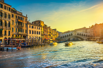 Venice grand canal, Rialto bridge at sunrise. Italy