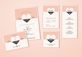 Wedding Invitation Set with Pink and Gray Heart Elements