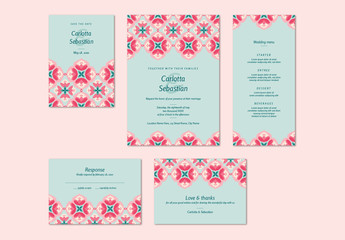 Wedding Invitation Set with Pink and Teal Floral Elements