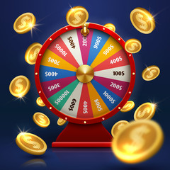Fortune wheel and gold coins. Lucky chance in game vector background