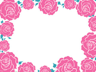 Pink Roses and blue leaves frame. Silhouette graphic flowers
