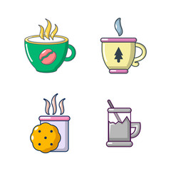 Tea cups icon set, cartoon style