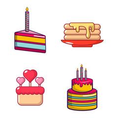 Cake icon set, cartoon style