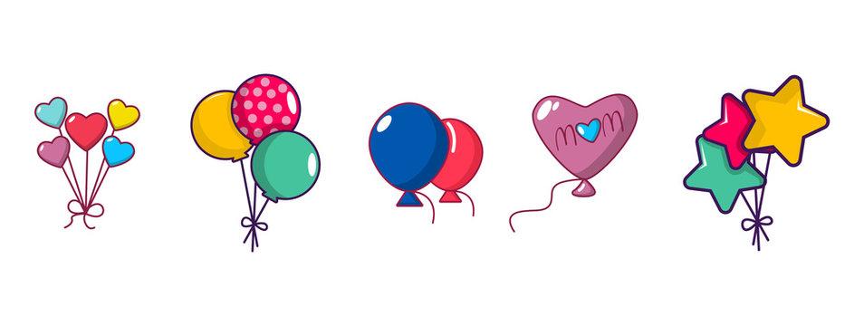 Ballons icon set, cartoon style