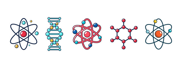 Molecule and atom icon set, cartoon style