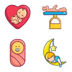 Baby icon set, cartoon style