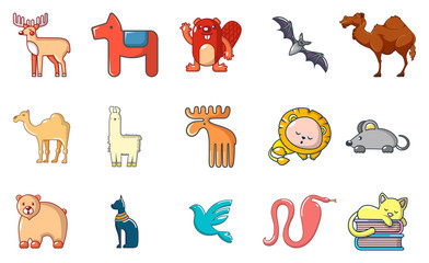 Animals icon set, cartoon style