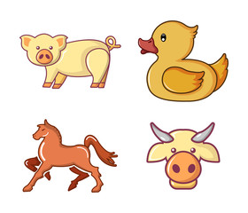Domestic animals icon set, cartoon style