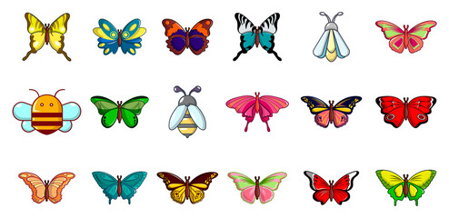 Insects icon set, cartoon style