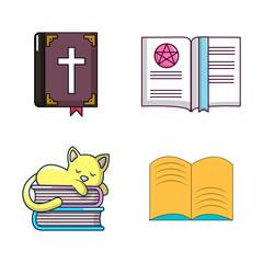 Book icon set, cartoon style