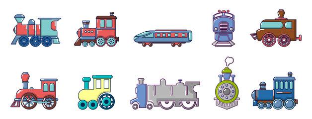 Train icon set, cartoon style