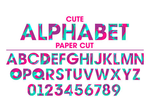 Vector Set of Letters and Numbers in paper cut style. Colorful alphabet with abstract paper cut shapes.