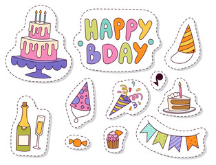 Happy birthday party celebration entertainment confetti present balloon decoration for holiday fun anniversary congratulation vector illustration.