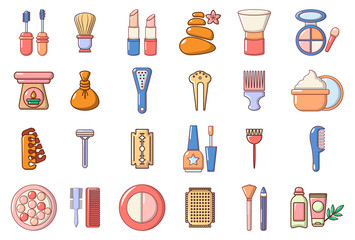 Beauty element icon set, cartoon style