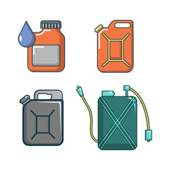 Canister icon set, cartoon style