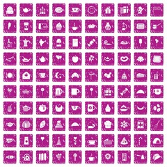 100 tea party icons set grunge pink