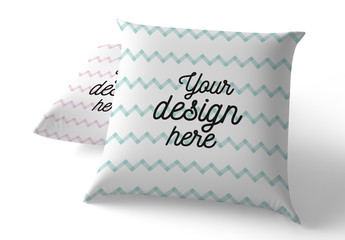 2 Square Pillows Mockup