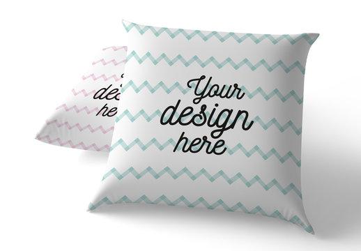 2 Square Pillows Mockup