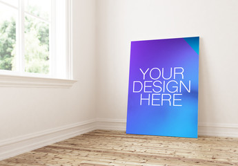 Poster Mockup Leaning on Home Interior Wall