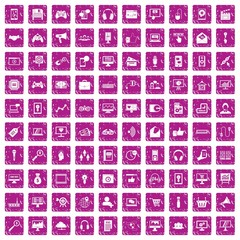 100 web and mobile icons set grunge pink