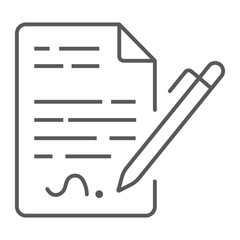 Contract thin line icon, agreement and signature, deal sign vector graphics, a linear pattern on a white background, eps 10.