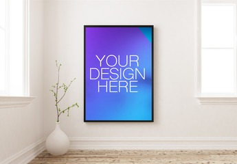 Framed Poster Mockup on White Wall