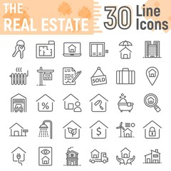 Real Estate line icon set, home symbols collection, vector sketches, logo illustrations, building signs linear pictograms package isolated on white background, eps 10.