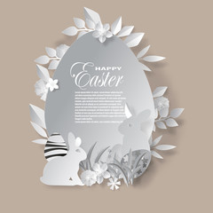 Vector easter day paper cut.for background design, illustration and greeting card.