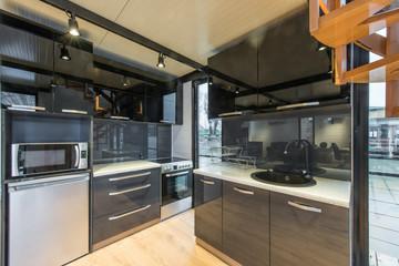 Black luxury kitchen in home or cottage interior