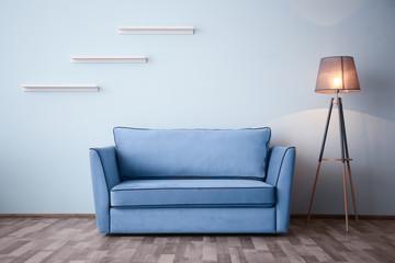 Elegant room interior with comfortable sofa