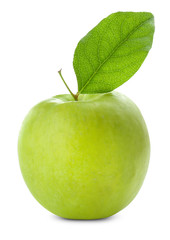 Fresh green apple with leaf on white background