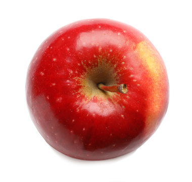 Ripe red apple on white background, top view
